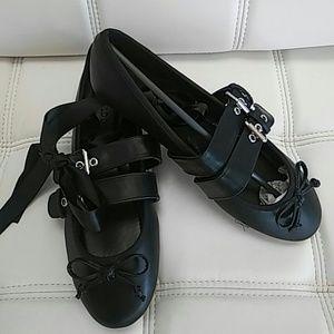 14e5df008 Wild Diva Shoes | Nwt Black Strappy Lace Up Ballet Flats | Poshmark
